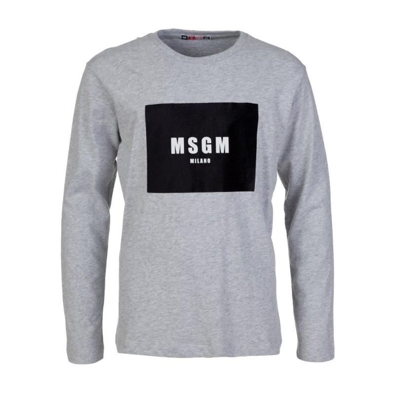 MSGM Grey Velvet Logo T-Shirt