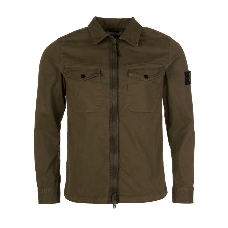 Stone Island Green Zipped Overshirt
