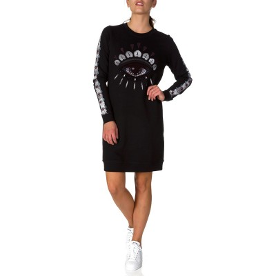 KENZO BLACK EYELASH SWEATSHIRT DRESS