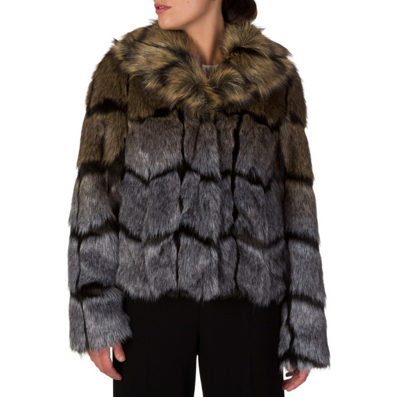 PATRIZIA PEPE BLACK FAUX FUR COAT