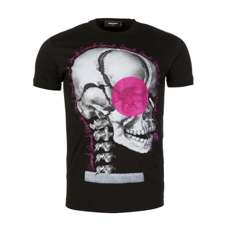 DSQUARED2 BLACK SKULL PRINT GRAPHIC T-SHIRT