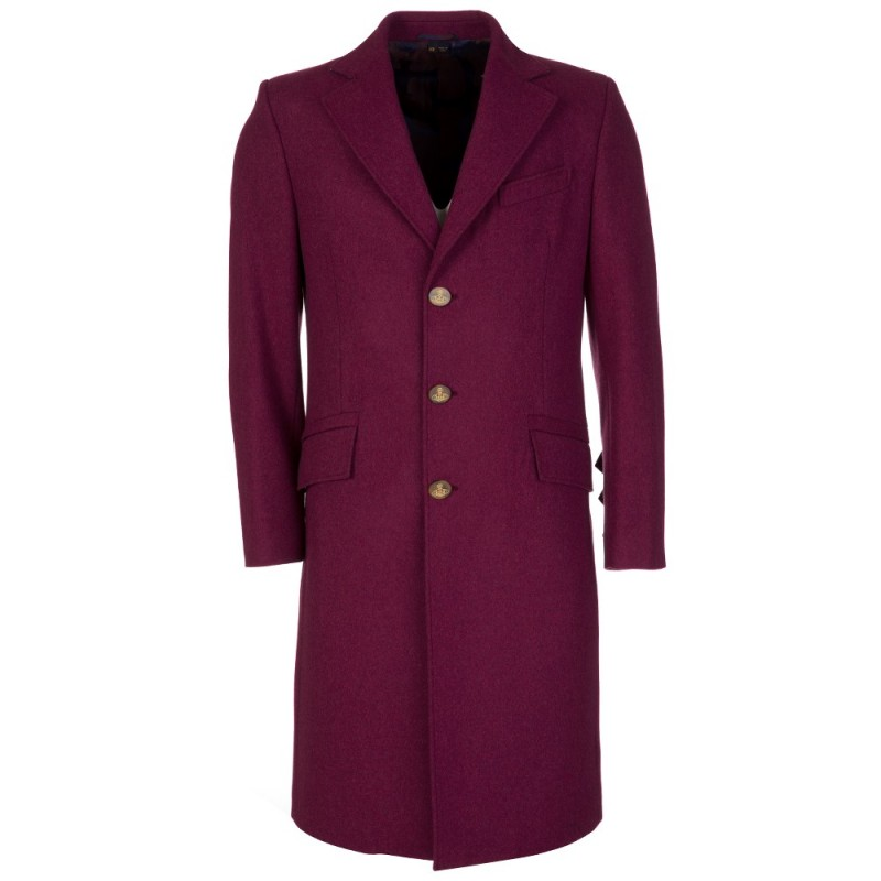 VIVIENNE WESTWOOD BURGUNDY LONG PEA COAT