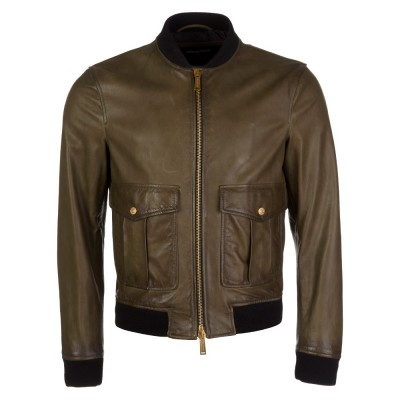 DSquared2 Green Aniline Leather Bomber Jacket