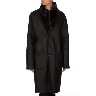 Joseph Grey Panelled Shearling Coat