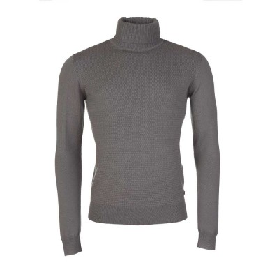Lagerfeld Charcoal Roll Neck Waffle Jumper