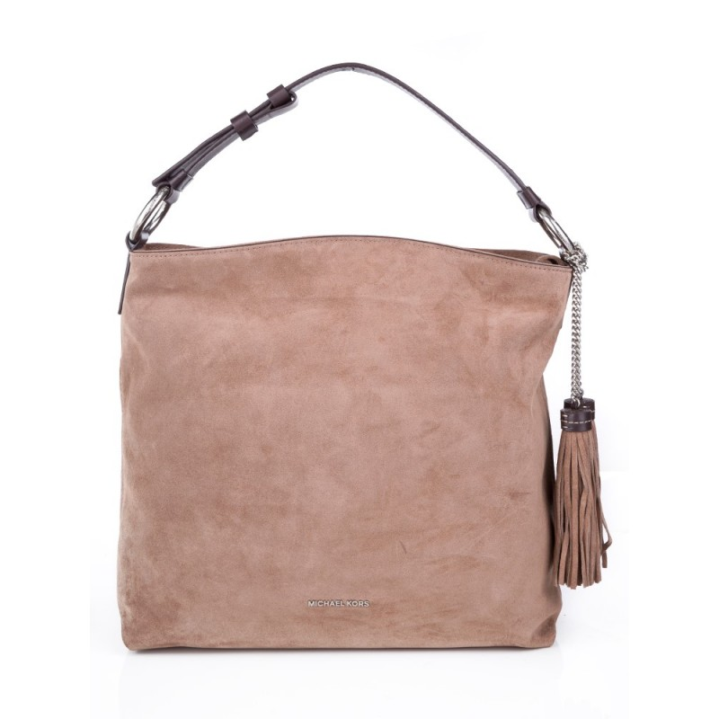 Michael Kors Elyse Sand Suede Shoulder Bag