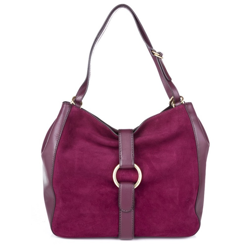 Michael Kors Plum Large Suede and Leather Shoulder Bag