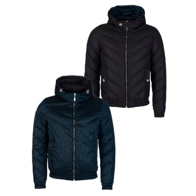 Versus Versace Navy Reversible Hooded Puffer Jacket