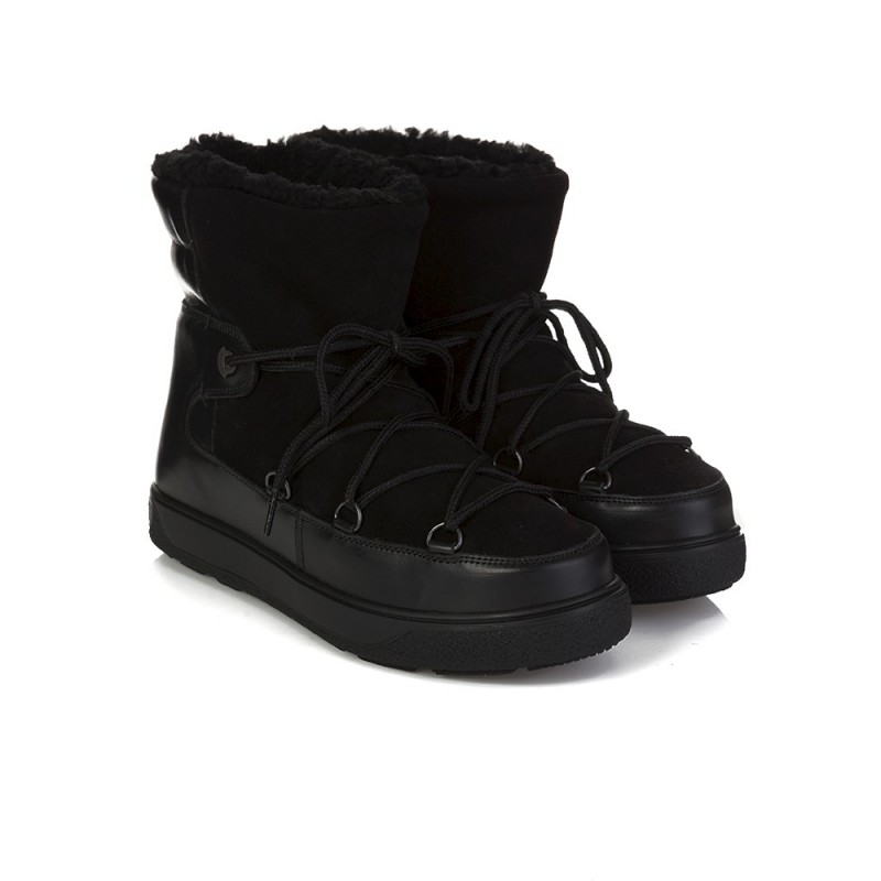 MONCLER BLACK FANNY FUR BOOT
