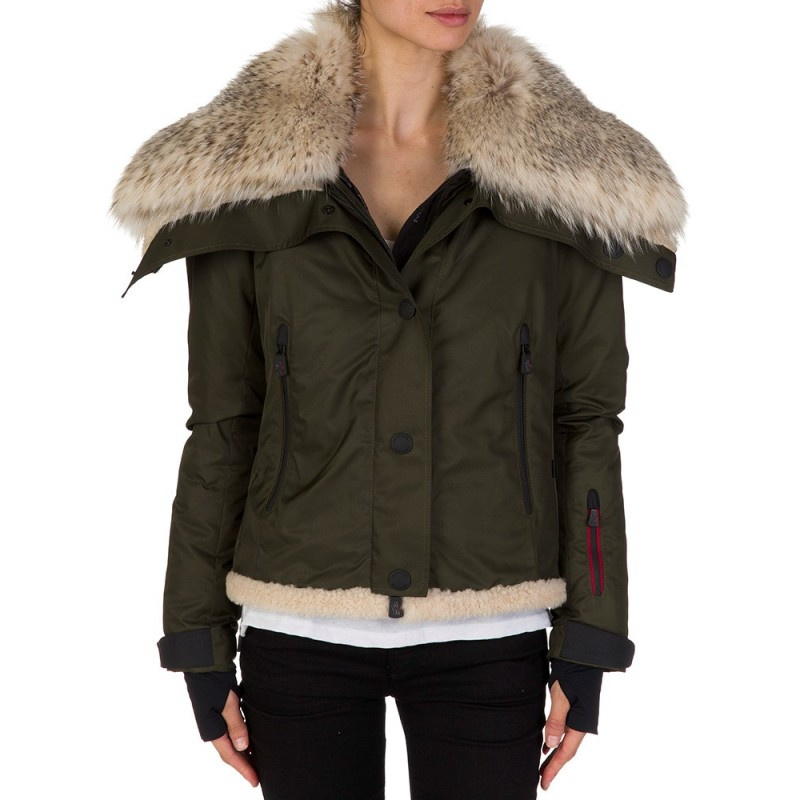 MONCLER GREEN MARTIGNY FUR COAT