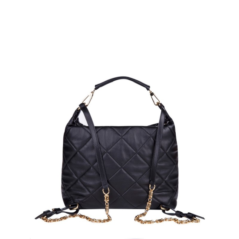 MONCLER BLACK QUILTED LEATHER FELICIENNE BAG
