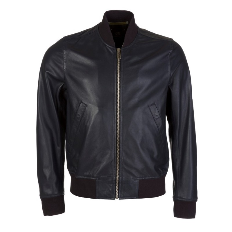 PAUL SMITH - PS NAVY LEATHER BOMBER JACKET