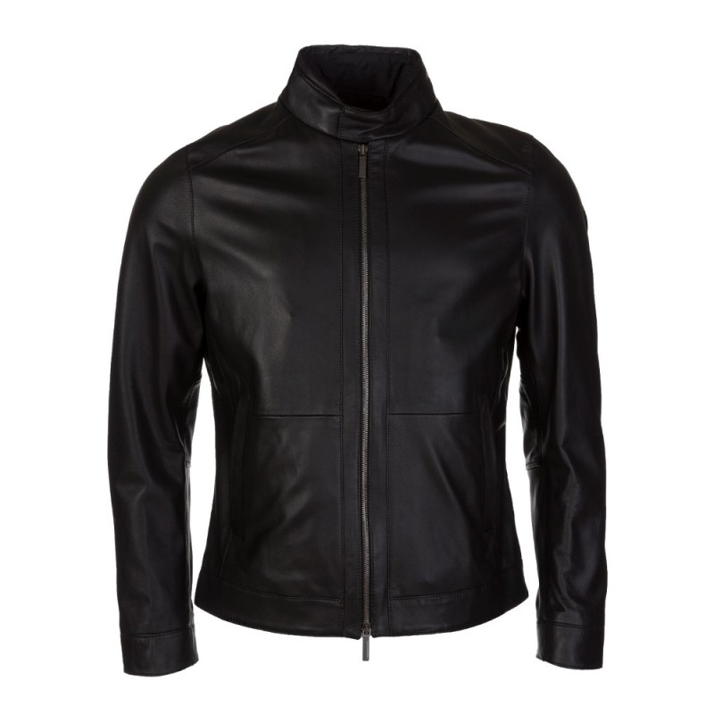BOSS BY HUGO BOSS BLACK NOKAM LEATHER JACKET