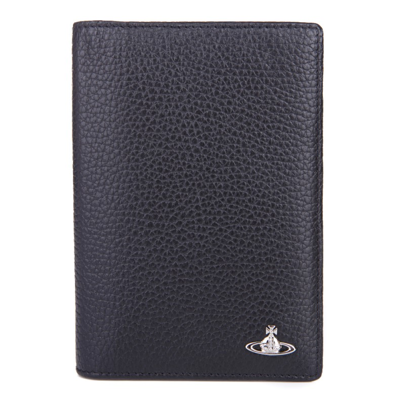 VIVIENNE WESTWOOD BLACK LEATHER LOGO PASSPORT HOLDER