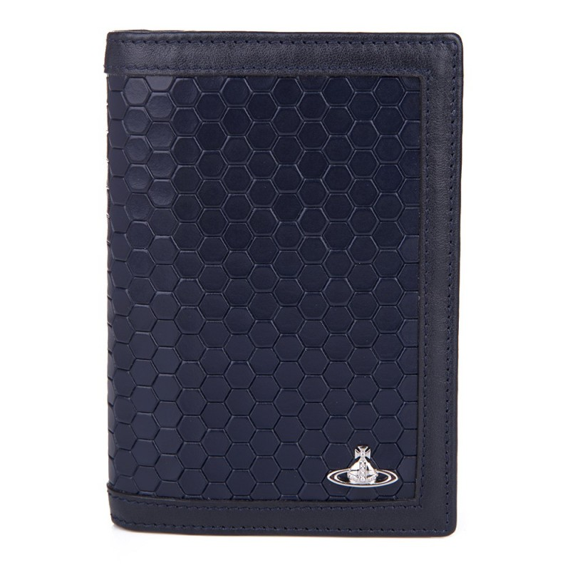 VIVIENNE WESTWOOD NAVY HEXAGON PASSPORT HOLDER