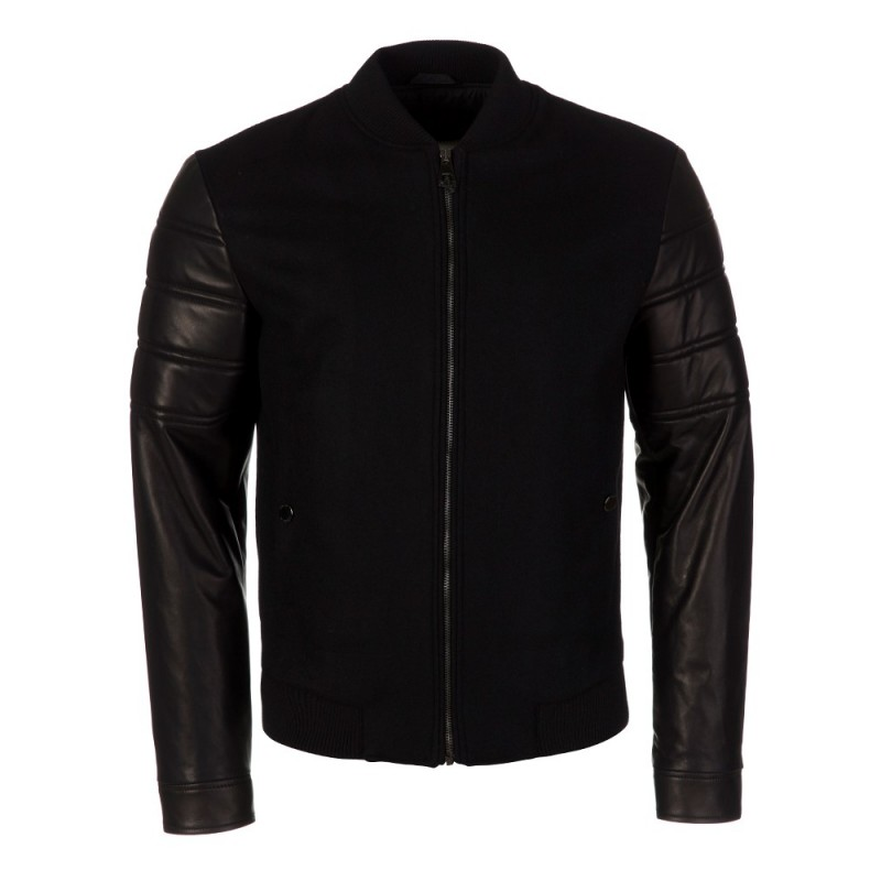 VERSACE COLLECTION BLACK BOOM LEATHER JACKET