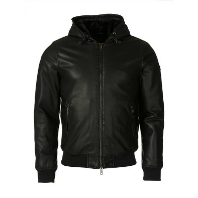 Armani Jeans Black Faux Leather Jacket