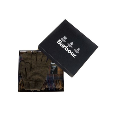 Barbour Olive Tartan Scarf and Glove Set