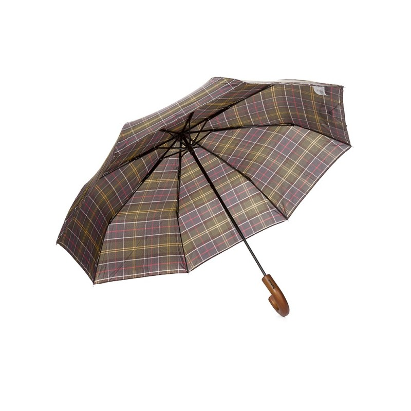 Barbour Green Tartan Telescopic Umbrella