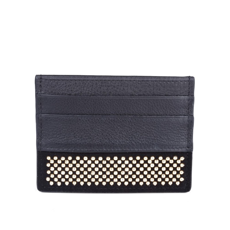Giuseppe Zanotti Black Gold Studded Credit Card Holder