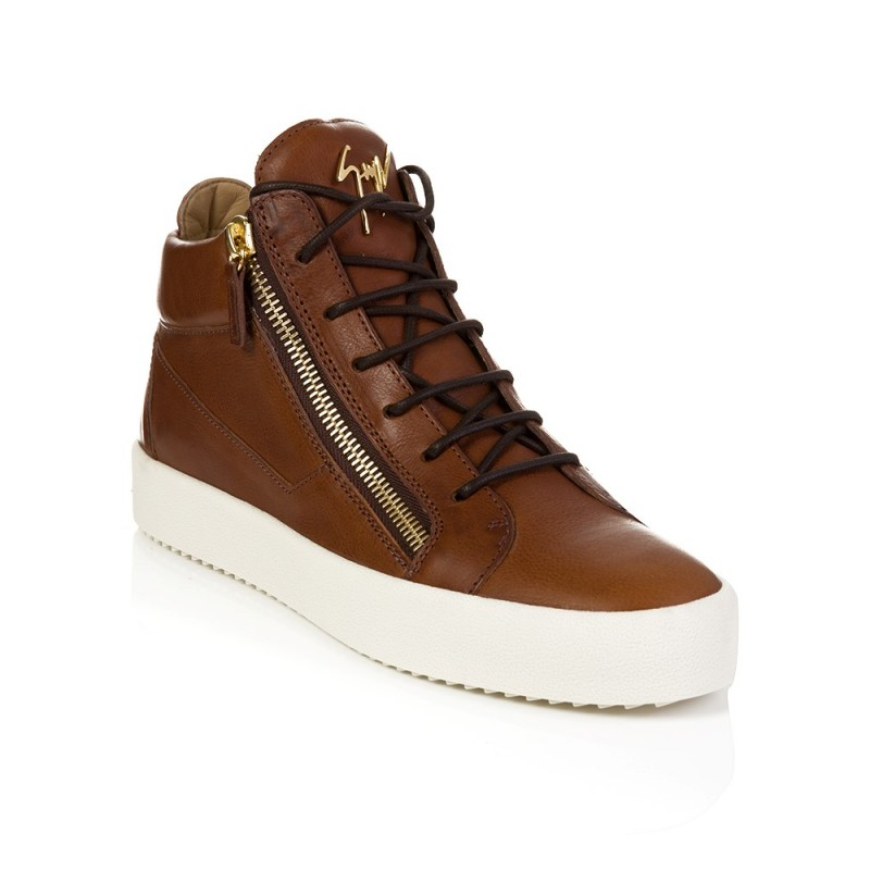 Giuseppe Zanotti Brown Leather Hi Top Trainers