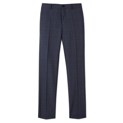 Paul Smith Navy Check Slim Fit Trousers