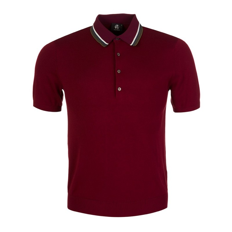 Paul Smith - PS Burgundy Knitted Polo Shirt