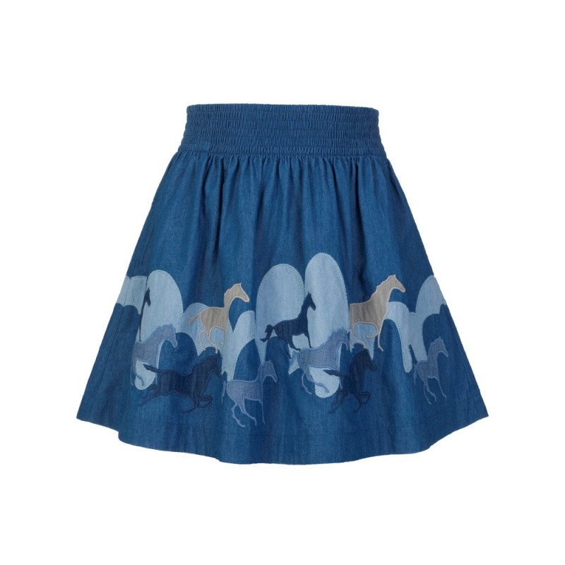 Stella McCartney Kids Blue Helga Horses Patch Skirt