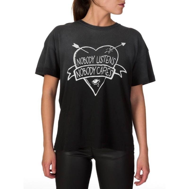 Wildfox Black Listen to Me Heart T-Shirt
