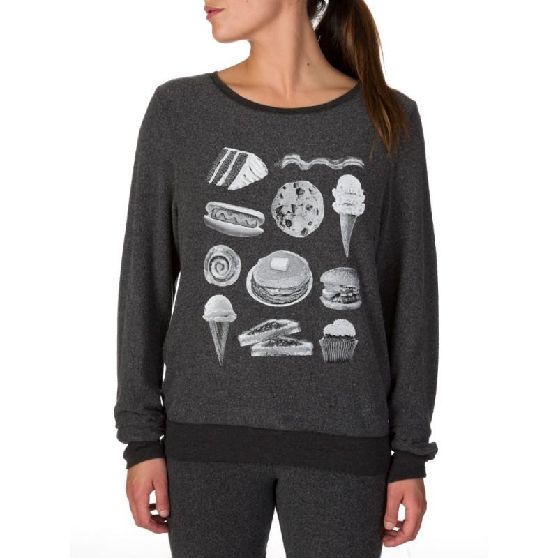 Wildfox Grey Food Print Sweatshirt