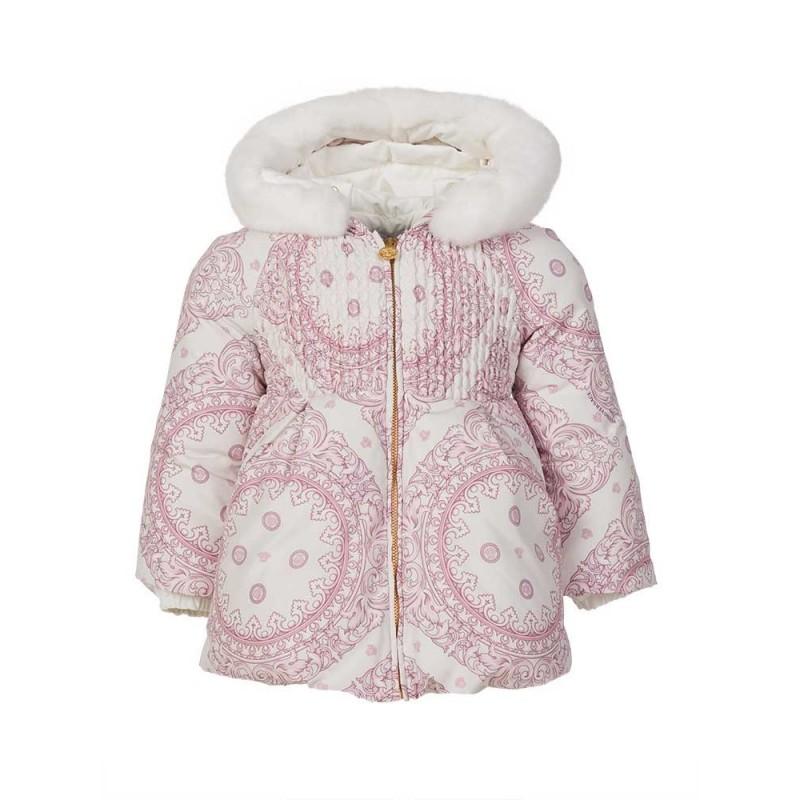Young Versace Pink Baroque Puffa Jacket