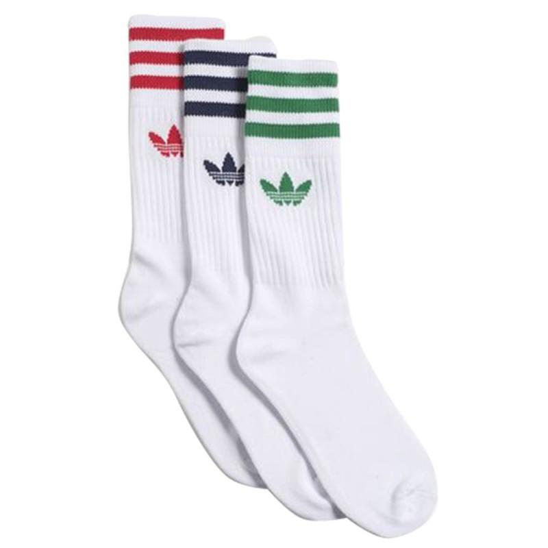 Adidas White 3 Pack Logo Socks