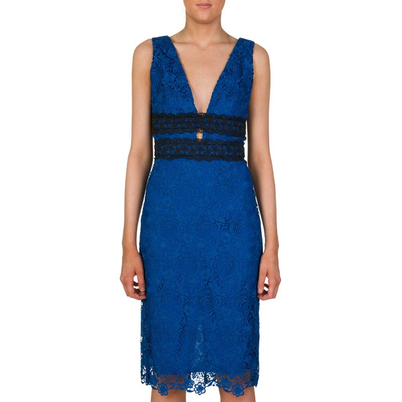 Diane Von Furstenberg Blue Viera Lace Dress