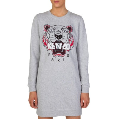Kenzo Grey Tiger Logo Sweatshirt Dress