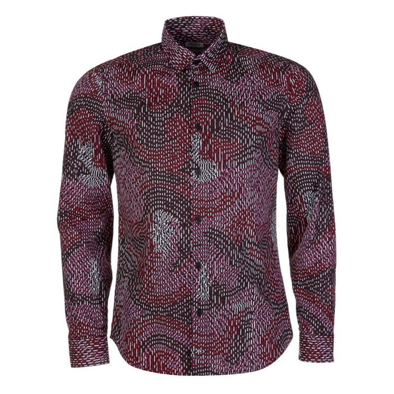 Kenzo Bordeaux Optical Print Shirt