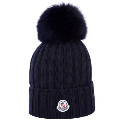 Moncler Navy Bobble Hat