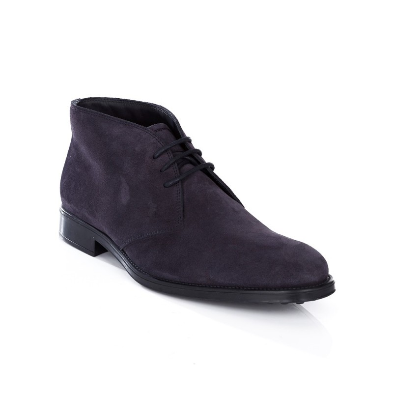 Tod's Navy Lace Up Suede Boots