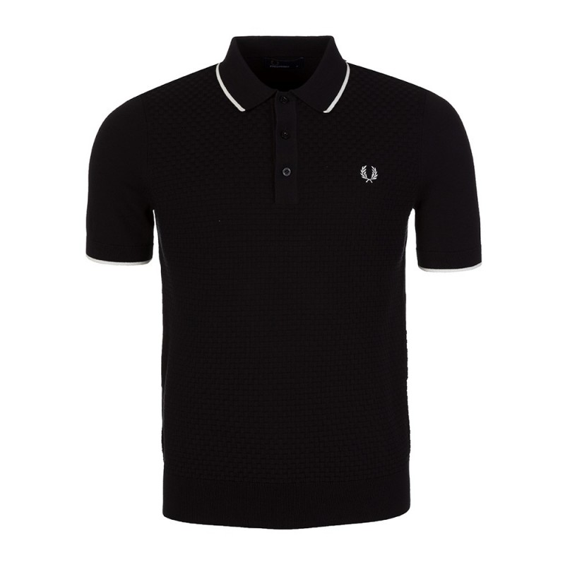 Fred Perry Black Weave Knitted Polo Shirts