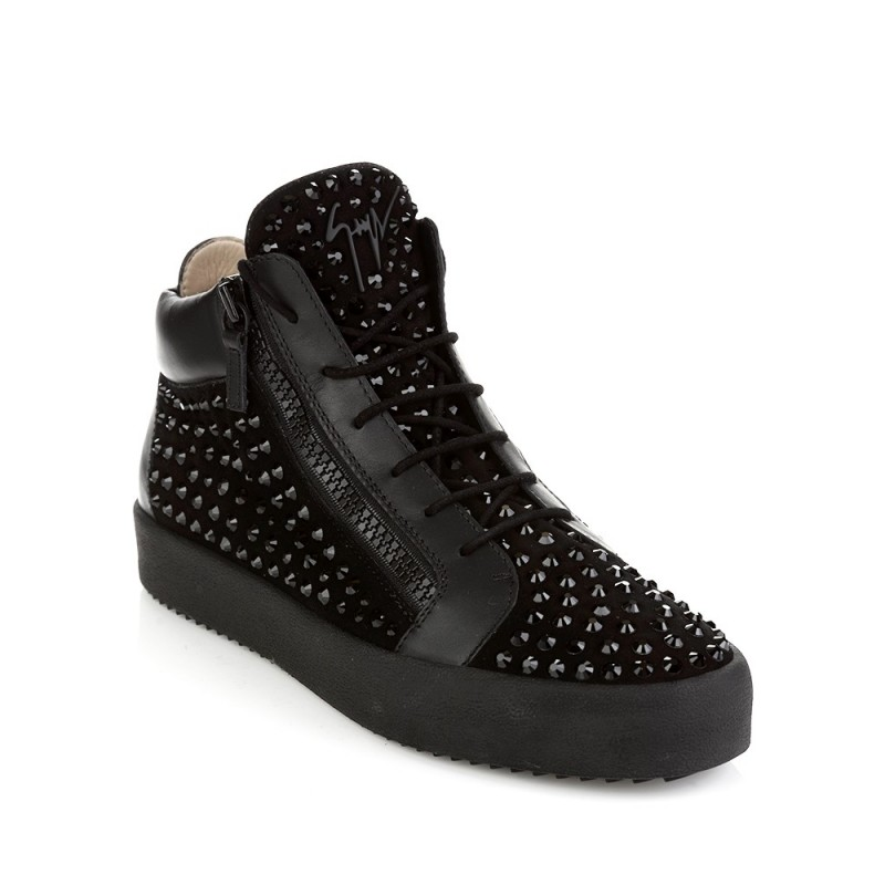 Giuseppe Zanotti Black Suede Crystal Trainers