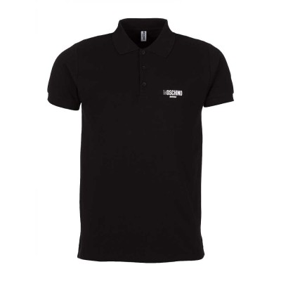 Moschino Black Metallic Logo Polo Shirt