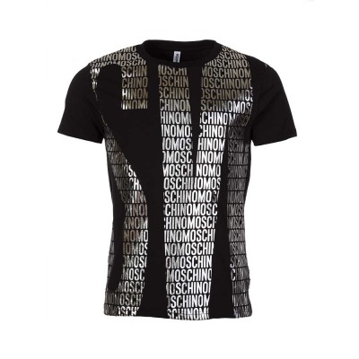 Moschino Black Metallic Logo Print T-Shirt