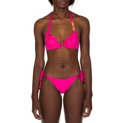 Moschino Swim Pink Frill Bikini Top