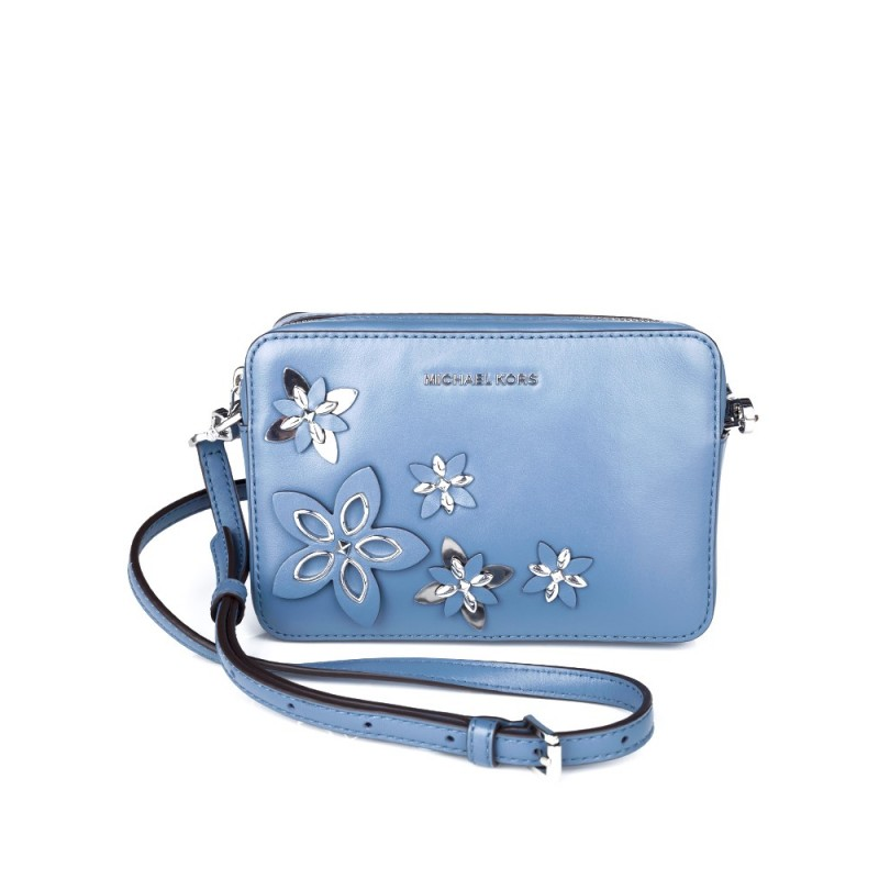 Michael Kors Denim Blue Floral Camera Bag