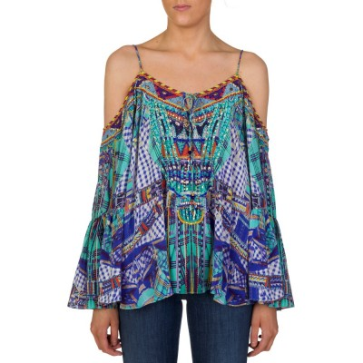 Camilla Blue Printed Cold Shoulder Blouse
