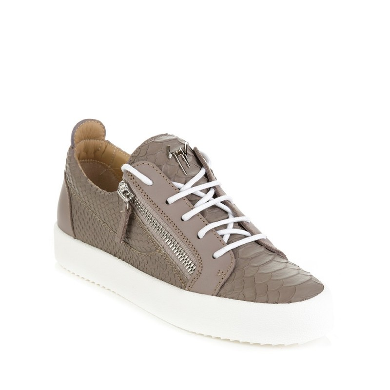 Giuseppe Zanotti Grey Low Crocodile Zip Trainers