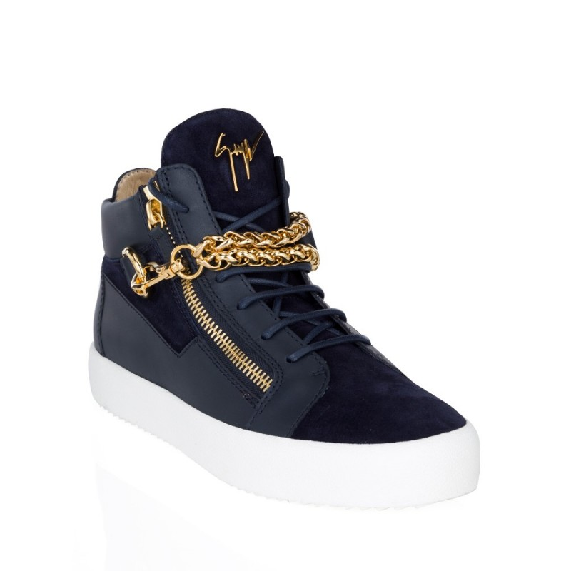 Giuseppe Zanotti Navy Suede Chain Mid Top Trainers