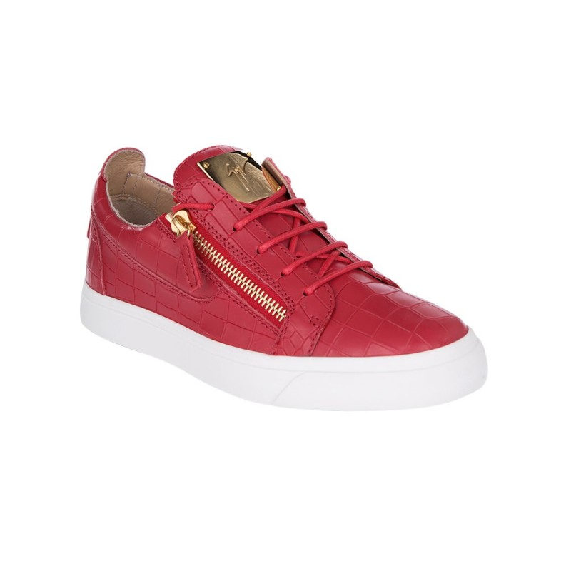 Giuseppe Zanotti Red Low Croc Leather Trainers