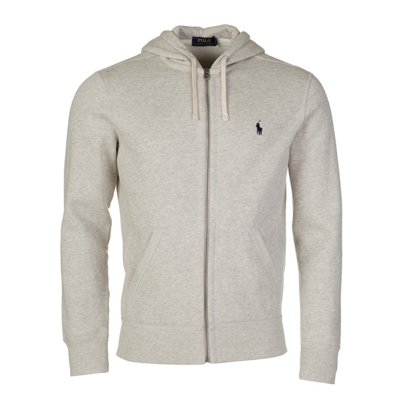 Polo Ralph Lauren Light Grey Marl Zip Through Hoodie