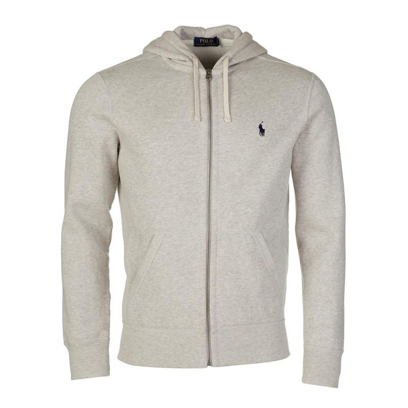 Polo Ralph Lauren Light Grey Marl Zip Through Hoodie