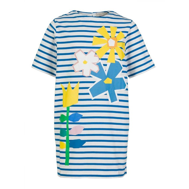 Stella McCartney Kids Blue Striped Flower Dress